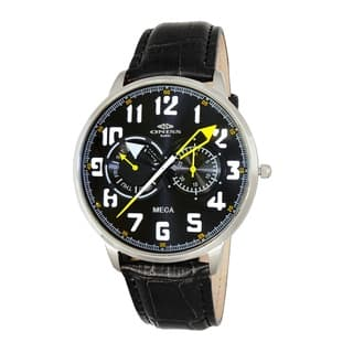"Oniss Mens ""MECA"" Sporty Stainless Steel & Leather Watch-Silver tone/Black-green dial