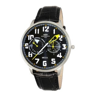 "Oniss Mens ""MECA"" Sporty Stainless Steel & Leather Watch-Silver tone/Black-green dial"