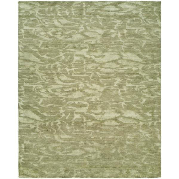 Gramercy Moonstone Ivory Wool/Viscose Hand-knotted Area Rug (8' x 10')