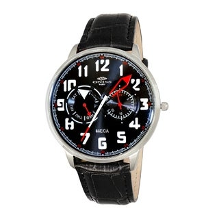 "Oniss Mens ""MECA"" Sporty Stainless Steel & Leather Watch-Silver tone/Black-red dial"