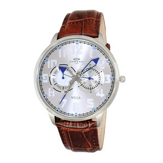 "Oniss Mens ""MECA"" Sporty Stainless Steel & Leather Watch-Silver tone/Silver-blue dial"