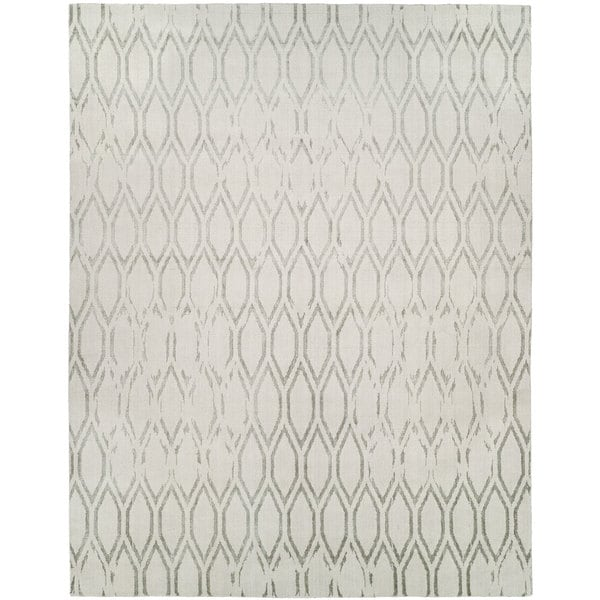 Gramercy Platinum/Off-white Wool/Viscose Hand-knotted Area Rug (9' x 12')