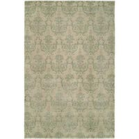 Gramercy Soft Beige Wool/Viscose Hand-knotted Area Rug - 6' x 9'