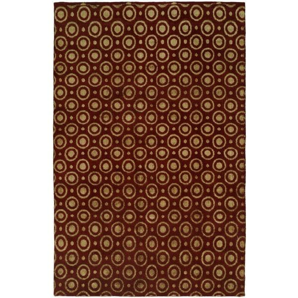 Gramercy Red Wool Silkette Hand-knotted Area Rug - 8' x 10'