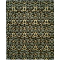 Gramercy Smokey Brown/Teal Viscose/Wool Hand-knotted Area Rug (6' x 9')