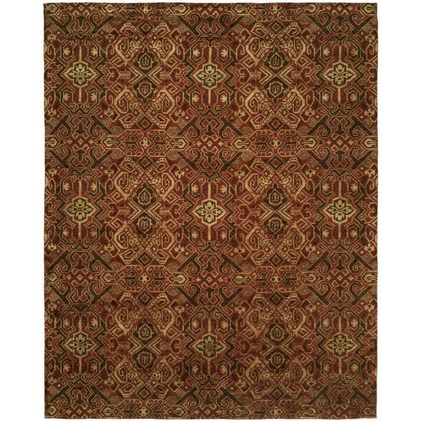 Gramercy Spice Burgundy Wool Hand-knotted Area Rug (10' x 14') - 10' x 14'