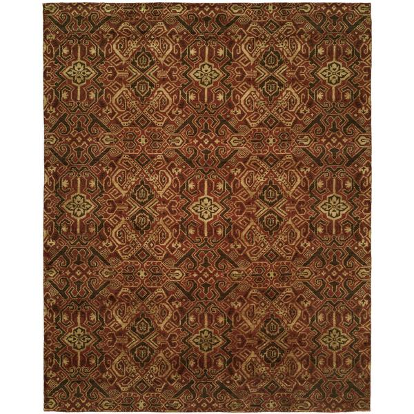 Gramercy Spice Burgundy Wool and Silkette Hand-knotted Area Rug (8' x 10')