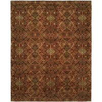 Gramercy Spice Burgundy Wool and Silkette Hand-knotted Area Rug - 8' x 10'