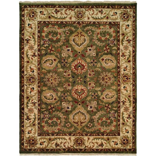 "Jaipura Green/Ivory Hand-knotted Wool Runner Rug (2'9 x 8'0) - 2'9"" x 8'"