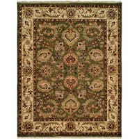 Jaipura Green/Ivory Wool Hand-knotted Area Rug (5' x 7')