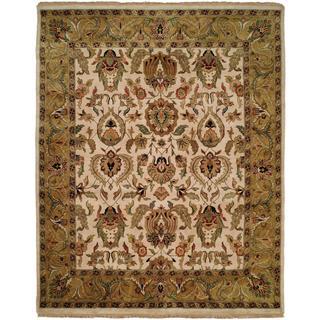 Jaipura Ivory/Gold Hand-knotted Wool Runner Rug (2'9 x 8'0)