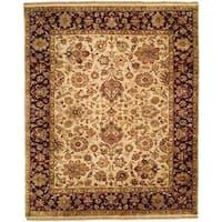 Jaipura Classic Ivory/Plum Wool Hand-knotted Area Rug (4' x 8') - 4' x 8'