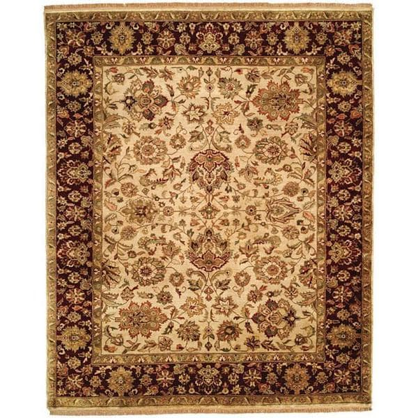 Jaipura Ivory/Plum Wool Hand-knotted Area Rug (8' x 10')