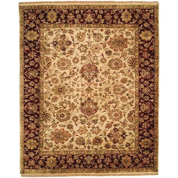 Jaipura Ivory/Plum Wool Hand-knotted Area Rug (9' x 12')
