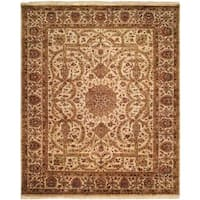 Kabir Ivory/Brown Wool Blend Hand-knotted Area Rug (6' x 9') - 6' x 9'