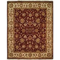 Lateef Aubergine/Ivory Wool Hand-knotted Area Rug (8' x 10') - 8' x 10'