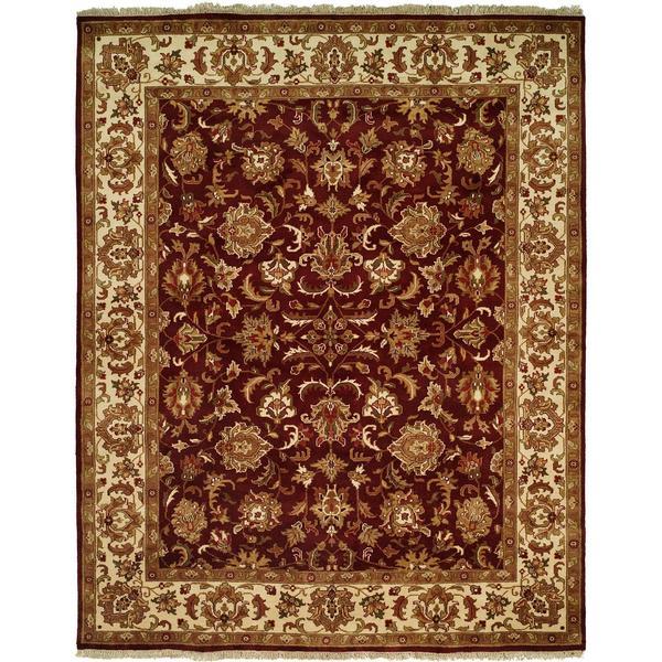 Lateef Aubergine/Ivory Wool Hand-knotted Area Rug (9' x 12')