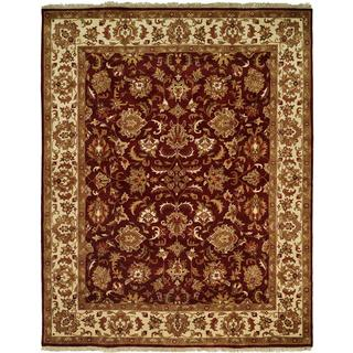 Lateef Aubergine/Ivory Wool Hand-knotted Area Rug (9' x 12')