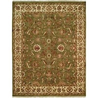 Lateef Green/Ivory Wool Hand-knotted Area Rug (8' x 10') - 8' x 10'