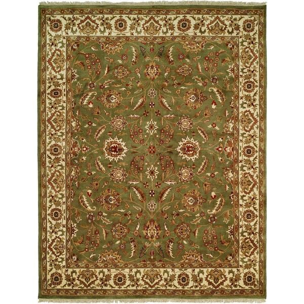 Lateef Green/Ivory Wool Hand-knotted Area Rug (9' x 12')