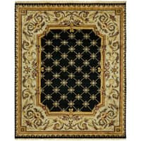 Le Palais Black/Ivory Wool Hand-knotted Area Rug (8' x 10') - 8' x 10'