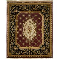 Le Palais Plum/Ivory Wool Hand-knotted Area Rug (8' x 10') - 8' x 10'