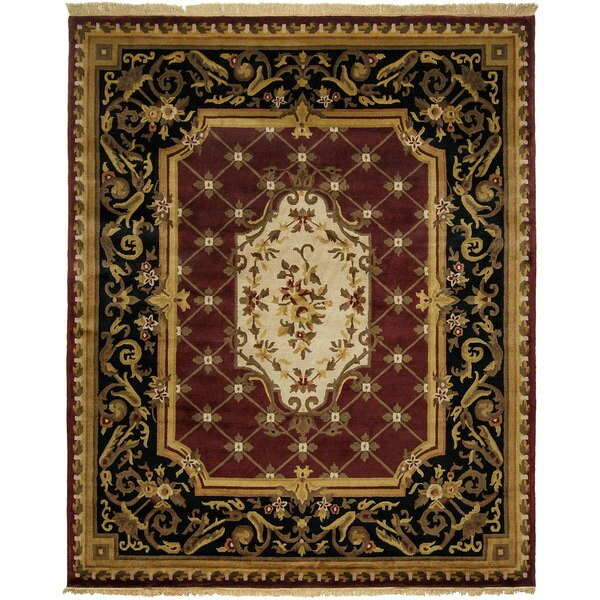 Le Palais Plum/Ivory Wool Hand-knotted Area Rug (9' x 12')