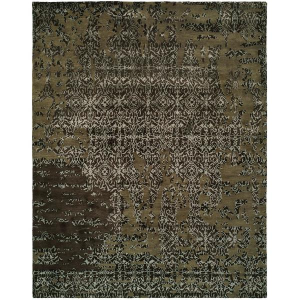 Madison Hand-tufted Multicolored/Coffee Wool/Cotton/Silkette Indoor Rectangular Area Rug (9' x 12')