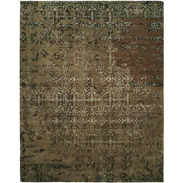 Madison Multicolor/Mocha Hand-tufted Wool Area Rug - 9' x 12'