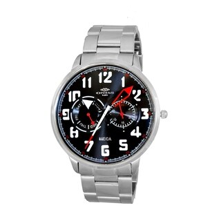 Oniss Mens All Stainless Steel Sporty Design Watch-Silver tone/Black-red dial