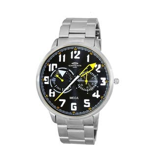 Oniss Mens All Stainless Steel Sporty Design Watch-Silver tone/Black green dial|https://ak1.ostkcdn.com/images/products/18594956/P24695710.jpg?impolicy=medium