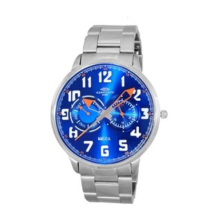 Oniss Mens All Stainless Steel Sporty Design Watch-Silver tone/Blue orange dial