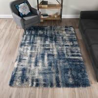 Addison Rugs Borealis Plush Abstract Blue/ Ivory/ Multicolor Indoor Shag Area Rug