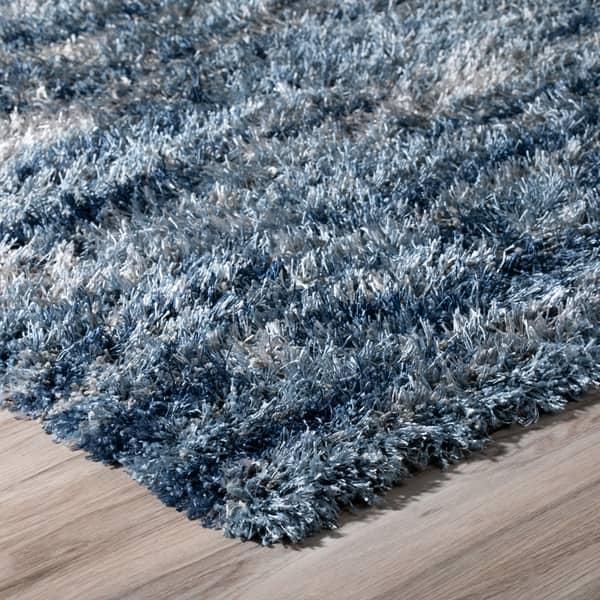 Addison Borealis Blue Grey Ivory Plush Abstract Shag Area Rug 5 3 X 7 7 5 3 X7 7 On Sale Overstock 18594994