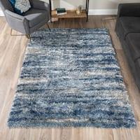 Addison Borealis Blue/ Grey/ Ivory Plush Abstract Shag Area Rug
