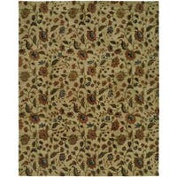 Newpot Mansions Beige Wool Floral Hand-tufted Area Rug (5' x 8') - 5' x 8'