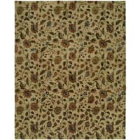Newpot Mansions Beige Wool Hand-tufted Floral Area Rug - 9' x 12'