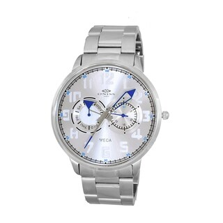 Oniss Mens All Stainless Steel Sporty Design Watch-Silver tone/Silver blue dial