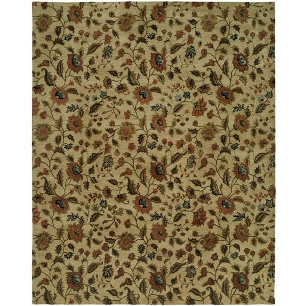 """Newpot Mansions Beige Wool Hand-tufted Area Rug (9'6 x 13'6) - 9'6"""" x 13'6"""""""