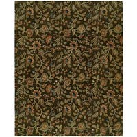 Newpot Mansions Brown Wool Hand-tufted Area Rug (5' x 8') - 5' x 8'