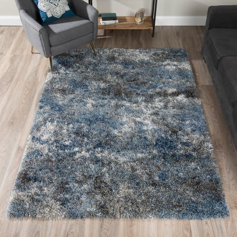 Addison Borealis Blue/Pewter Plush Abstract Shag Area Rug