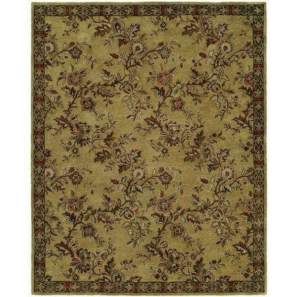 Newport Mansions Gold Wool Hand-tufted Area Rug (8' x 10') - 8' x 10'