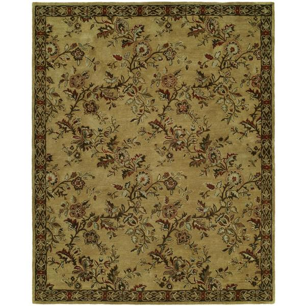 Newpot Mansions Gold Wool Hand-tufted Area Rug (9' x 12') - 9' x 12'