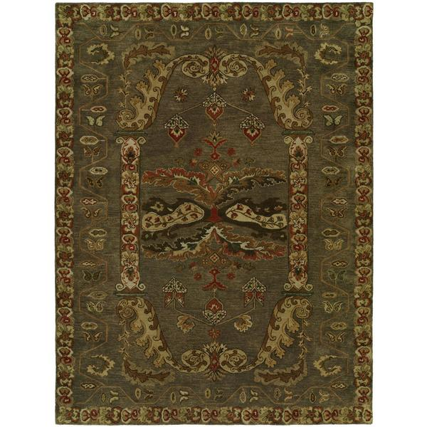 Newpot Mansions Grey Wool Cotton Hand-tufted Area Rug (8' x 10') - 8' x 10'