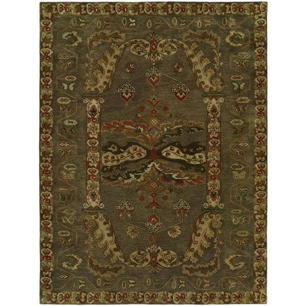 Newpot Mansions Hand-tufted Green Wool/ Cotton Indoor Area Rug - 9' x 12'