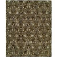 Newpot Mansions Latte Green Wool Hand-tufted Geometric Area Rug (5' x 8') - 5' x 8'