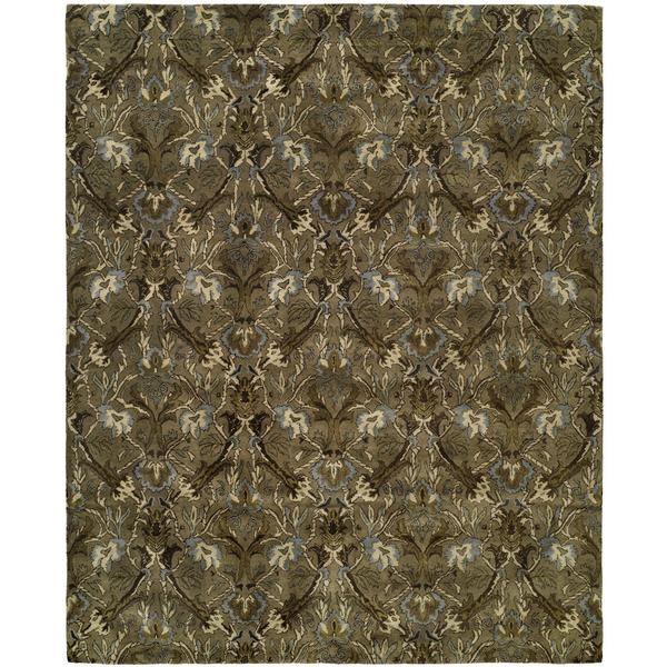 Newpot Mansions Latte Green Wool Hand-tufted Area Rug (9' x 12')