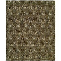 Newpot Mansions Latte Green Wool Hand-tufted Area Rug - 9' x 12'