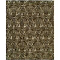 Newpot Mansions Latte Green Wool Hand-tufted Area Rug (9'6 x 13'6)