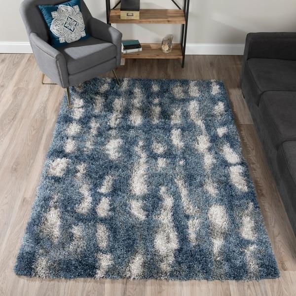 Shop Addison Rugs Borealis Bluewhite Plush Abstract Shag Area Rug